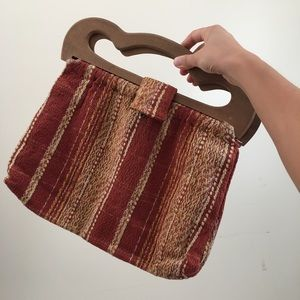 Vintage Woven Bag with Wooden Handle